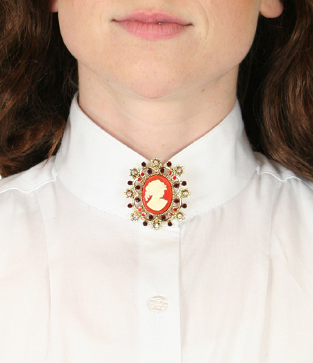 Victorian Ladies Red Pin | Dickens | Downton Abbey | Edwardian || Cameo Brooch - Coral Red