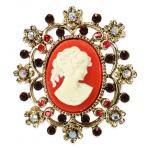 Cameo Brooch - Coral Red
