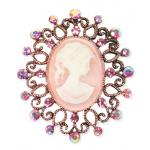 Jeweled Cameo Brooch - Pink