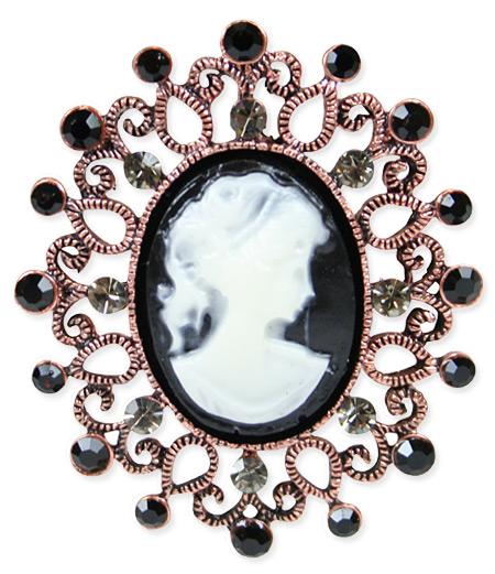 Jeweled Cameo Brooch - Black