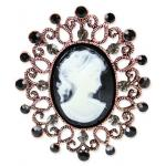 Jeweled Cameo Brooch - Black