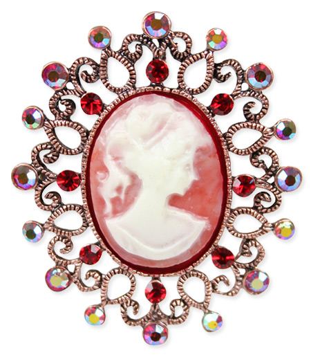 jeweled cameo red