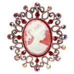 Jeweled Cameo Brooch - Red