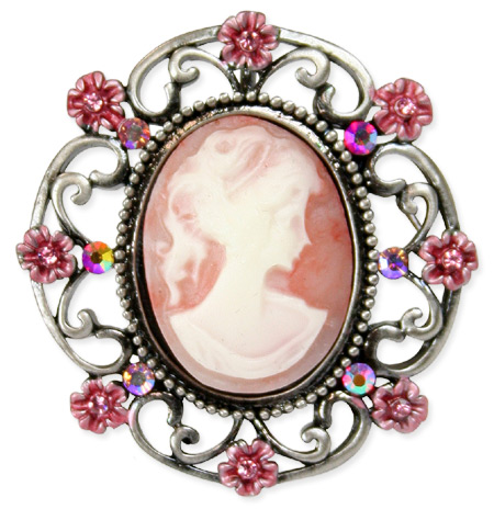 Floral Cameo Brooch - Pink