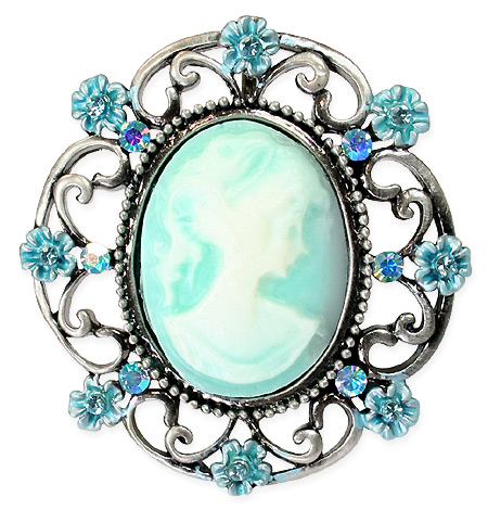 Victorian Ladies Blue Pin | Dickens | Downton Abbey | Edwardian || Cameo Brooch - Turquoise