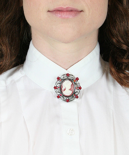 Victorian Ladies Red Pin | Dickens | Downton Abbey | Edwardian || Floral Cameo Brooch - Red
