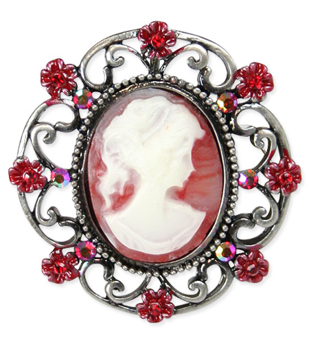Floral Cameo Brooch - Red