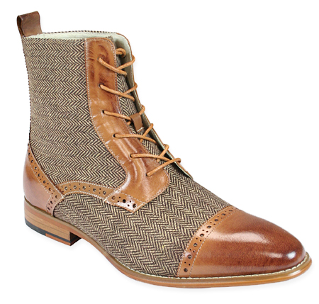 Victorian Mens Brown,Tan Leather,Tweed Boots | Dickens | Downton Abbey | Edwardian || Mens Tweed Boot - Tan Leather