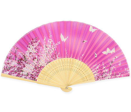 Wedding Ladies Red,Purple Wood,Satin Fan | Formal | Bridal | Prom | Tuxedo || Fuschia Floral Fan
