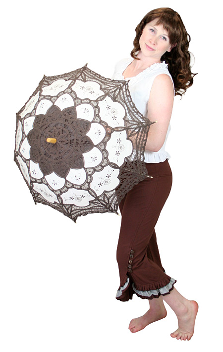 Wedding Ladies Brown Cotton,Lace Lacy Parasol | Formal | Bridal | Prom | Tuxedo || Lace Parasol - Brown/Ecru