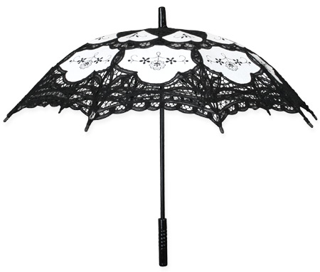 Lace Parasol - Black/White