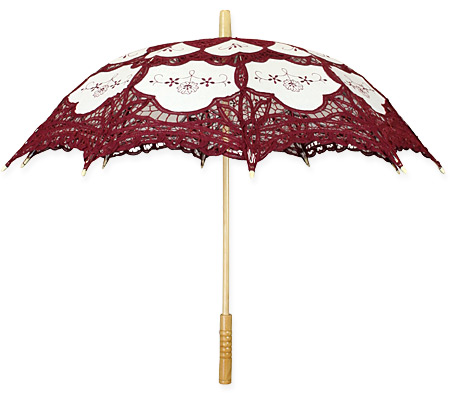 1800s Ladies Burgundy Cotton,Lace Lacy Parasol | 19th Century | Historical | Period Clothing | Theatrical || Lace Parasol - Burgundy and Ecru