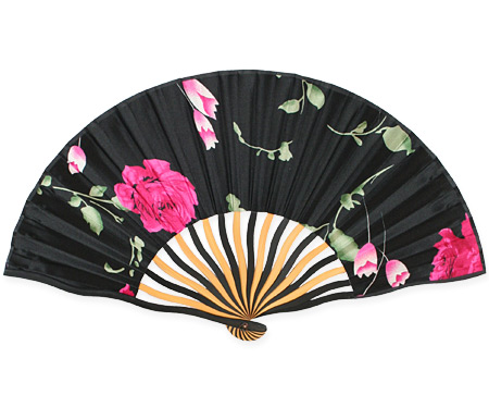 Vintage Ladies Black,Red Wood,Satin Fan | Romantic | Old Fashioned | Traditional | Classic || Pink Rose Satin Fan