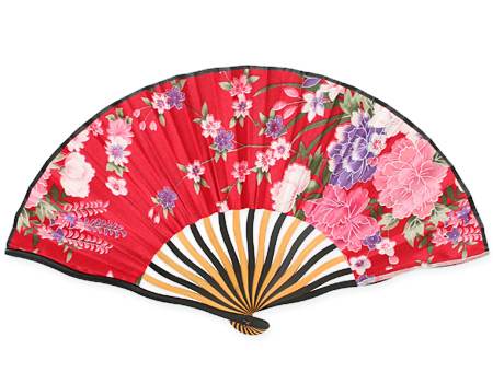 Vintage Ladies Red Wood,Satin Fan | Romantic | Old Fashioned | Traditional | Classic || Rose Red Satin Fan