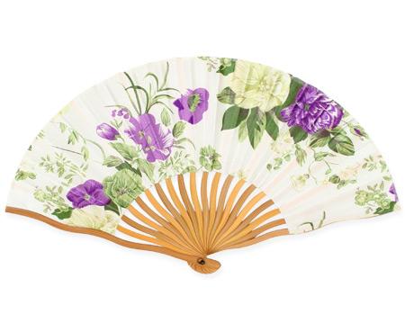 Victorian Ladies Purple Wood,Satin Fan | Dickens | Downton Abbey | Edwardian || Violet Floral Satin Fan