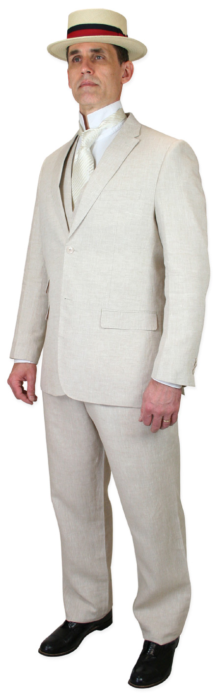 Victorian Mens Ivory Linen Solid Suit | Dickens | Downton Abbey | Edwardian || Riverdale Linen Suit - Natural