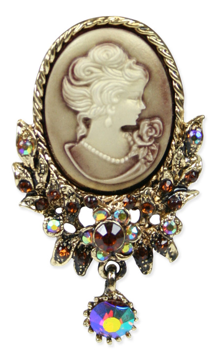 Cameo Brooch with Crystals - Gold