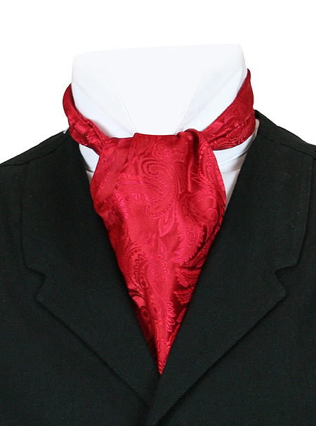 1800s Mens Red Paisley Ascot | 19th Century | Historical | Period Clothing | Theatrical || Opulent Paisley Ascot - Red