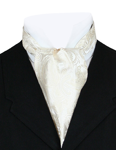 Vintage Mens Ivory Paisley Ascot | Romantic | Old Fashioned | Traditional | Classic || Opulent Paisley Ascot - Cream