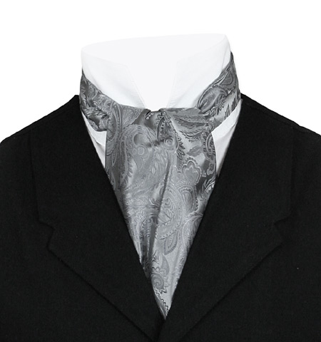 Wedding Mens Gray,Silver Paisley Ascot | Formal | Bridal | Prom | Tuxedo || Opulent Paisley Ascot - Charcoal