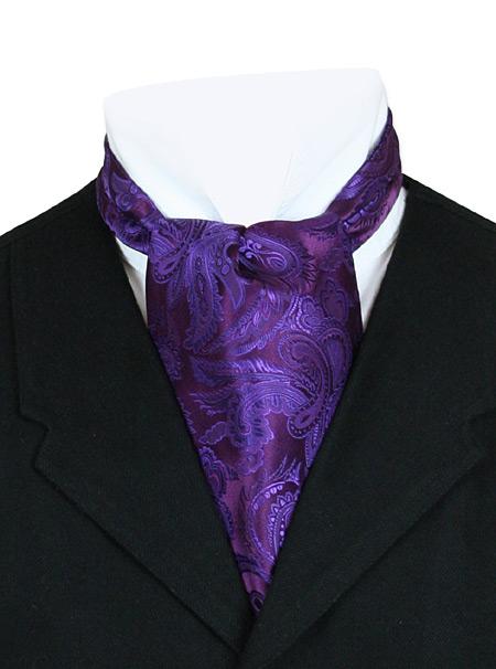 Wedding Mens Purple Paisley Ascot | Formal | Bridal | Prom | Tuxedo || Opulent Paisley Ascot - Plum