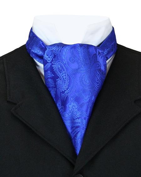 Victorian Mens Blue Paisley Ascot | Dickens | Downton Abbey | Edwardian || Opulent Paisley Ascot - Royal Blue