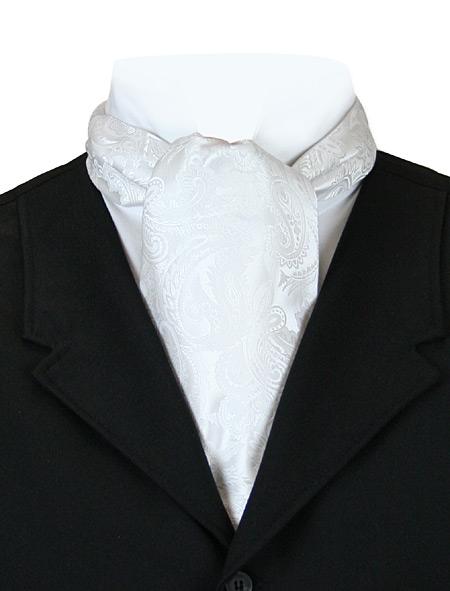 Victorian Mens White Paisley Ascot | Dickens | Downton Abbey | Edwardian || Opulent Paisley Ascot - Pure White