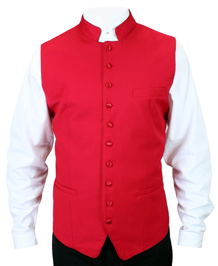Steampunk Mens Red Solid Stand Collar Dress Vest | Gothic | Pirate | LARP | Cosplay | Retro | Vampire || Buckingham Vest - Red/Red