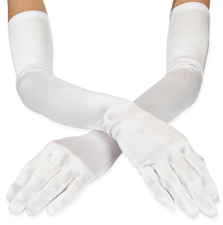 Wedding Ladies White Gloves | Formal | Bridal | Prom | Tuxedo || Opera Length Satin Gloves - White