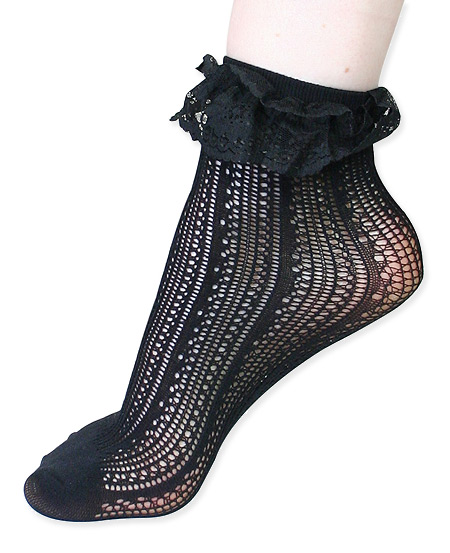 Vintage Ladies Black Nylon Blend Solid Stockings | Romantic | Old Fashioned | Traditional | Classic || Crochet Net Lace Top Anklet - Black
