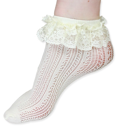 Vintage Ladies Ivory Nylon Blend Solid Stockings | Romantic | Old Fashioned | Traditional | Classic || Crochet Net Lace Top Anklet - Ivory