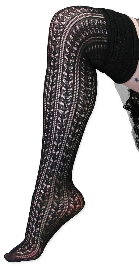 Wedding Ladies Black Solid Stockings   Formal   Bridal   Prom   Tuxedo    Over the Knee Pointelle Sock - Black