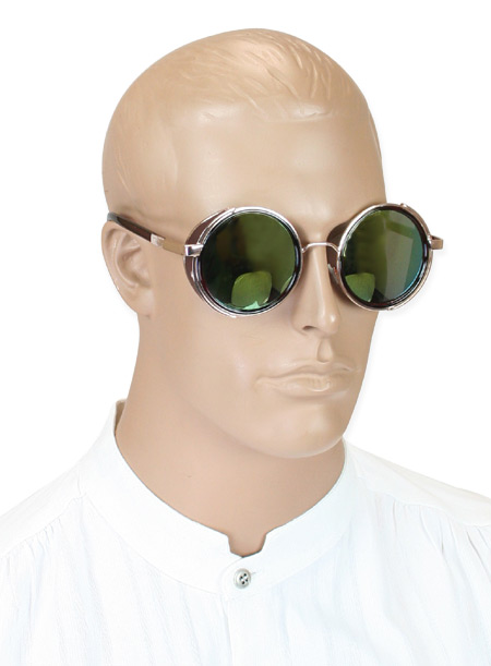 1800s Mens Gold,Brown Alloy,Plastic Sunglasse | 19th Century | Historical | Period Clothing | Theatrical || Honcho Side-Shield Spectacles - Gold/Brown