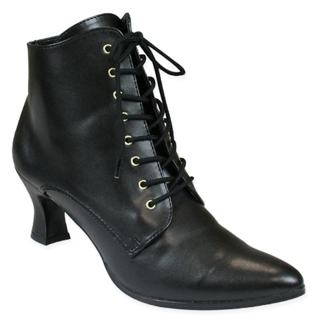 c591b757a7e Victorian Ankle Boot - Black Faux Leather