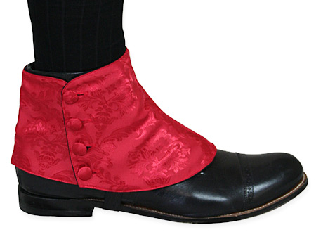 1800s Mens Red Spats | 19th Century | Historical | Period Clothing | Theatrical || Premium Mens Button Spats - Red Duncan Jacquard (One Pair)