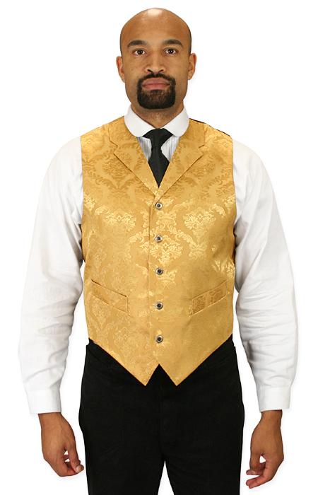 Wedding Mens Gold Floral Notch Collar Dress Vest | Formal | Bridal | Prom | Tuxedo || Sutter Vest - Gold