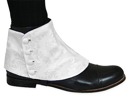 Steampunk Mens White Spats | Gothic | Pirate | LARP | Cosplay | Retro | Vampire || Premium Mens Button Spats - White Jacquard (One Pair)