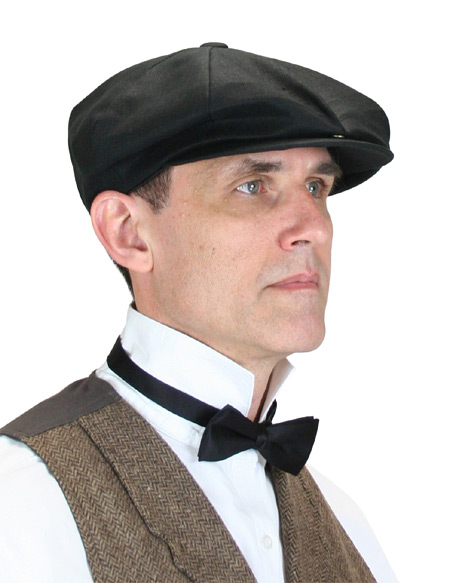 1800s Mens Black Linen Cap | 19th Century | Historical | Period Clothing | Theatrical || Linen Applejack Cap - Black