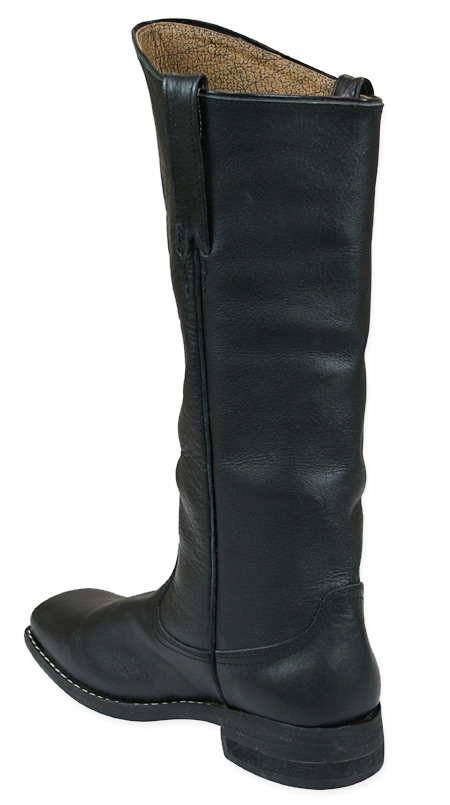 Mens Cavalry Long Boot , Black Leather