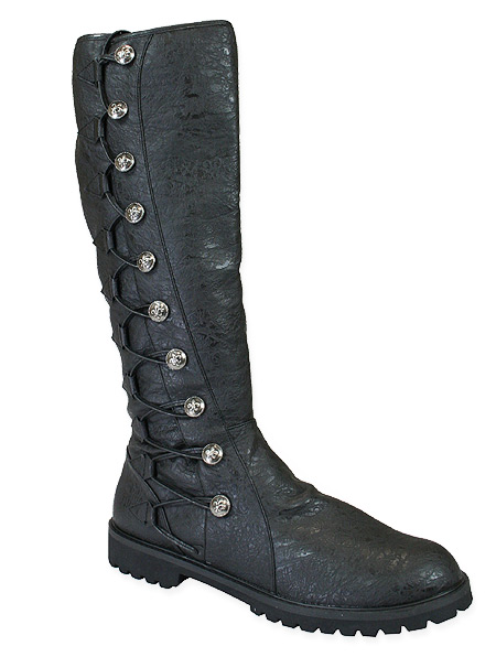 Steampunk Mens Black Faux Leather Boots | Gothic | Pirate | LARP | Cosplay | Retro | Vampire || Sky Pilot - Black
