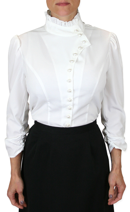 Vintage Ladies White Solid Stand Collar Blouse | Romantic | Old Fashioned | Traditional | Classic || Vesta Blouse Ruched Sleeve - White