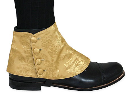 Victorian Mens Gold Spats | Dickens | Downton Abbey | Edwardian || Premium Mens Button Spats - Gold Jacquard (One Pair)
