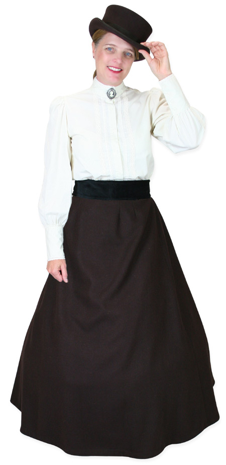 Victorian Ladies Brown Wool,Satin Solid Dress Skirt | Dickens | Downton Abbey | Edwardian || Constance Reversible Wool Skirt - Dark Brown