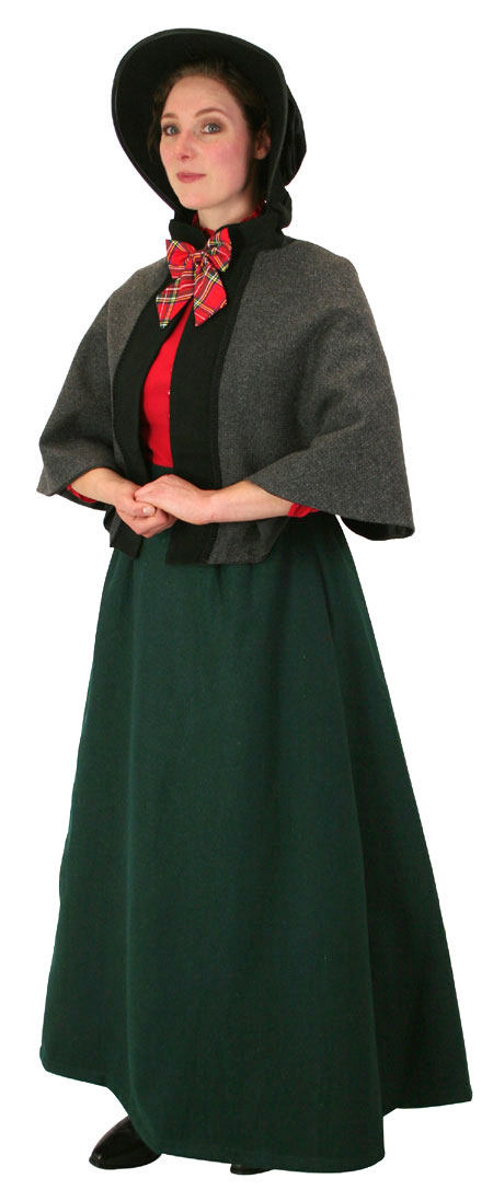 Steampunk Ladies Green Wool,Satin Solid Dress Skirt | Gothic | Pirate | LARP | Cosplay | Retro | Vampire || Constance Reversible Wool Skirt - Dark Green