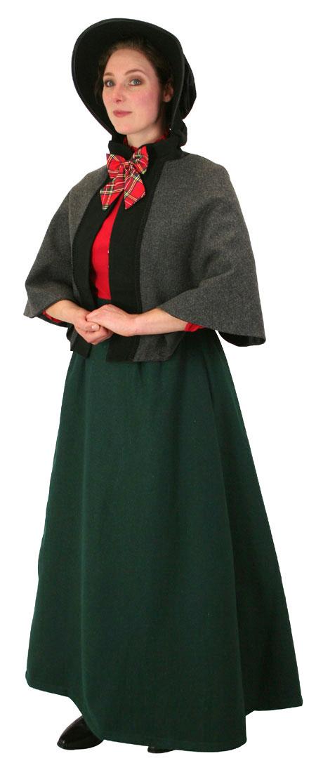 Steampunk Ladies Green Wool,Satin Solid Dress Skirt | Gothic | Pirate | LARP | Cosplay | Retro | Vampire || Constance Reversible Wool Skirt - Dark Green
