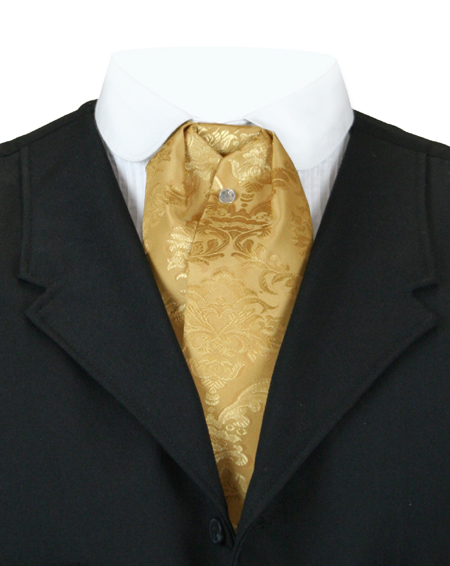 1800s Mens Gold Floral Puff Tie | 19th Century | Historical | Period Clothing | Theatrical || Satin Puff Tie - Gold Sutter