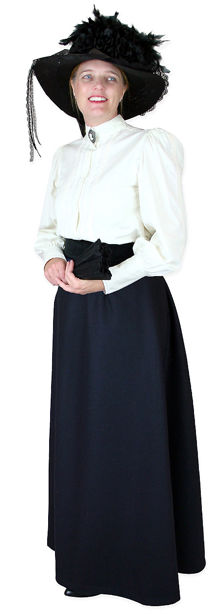 1800s Ladies Blue Wool,Satin Solid Dress Skirt | 19th Century | Historical | Period Clothing | Theatrical || Constance Reversible Wool Skirt - Navy