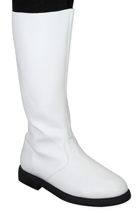 Vintage Mens White Faux Leather Boots | Romantic | Old Fashioned | Traditional | Classic || Captains Mid-Calf Boot - White Faux Leather