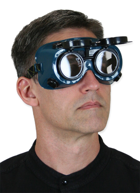 Vintage Mens Green,Clear Plastic Goggles | Romantic | Old Fashioned | Traditional | Classic || Flip Up Welding Goggles