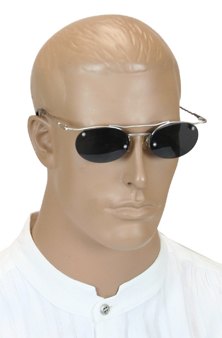 1800s Mens Silver Alloy Sunglas | 19th Century | Historical | Period Clothing | Theatrical || Strut Sunglasses - Silver